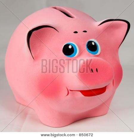 Pink piggibank. Isolated