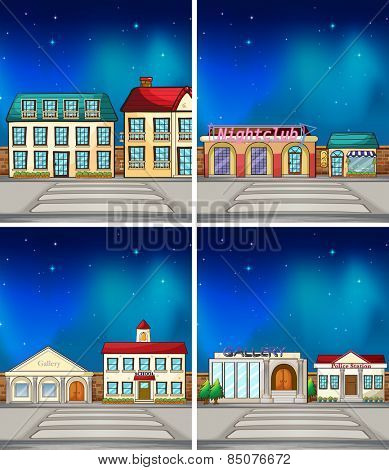 Buildings and shops at night