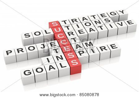 3d Conceptual image of success. Crossword with letters.