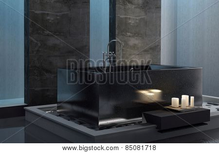 Bathing by candlelight with an interior view of a stylish bathroom with a rectangular tub and subdued lighting in a romantic setting. 3d Rendering.