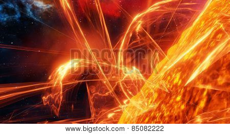Surface of the sun with energy explosions