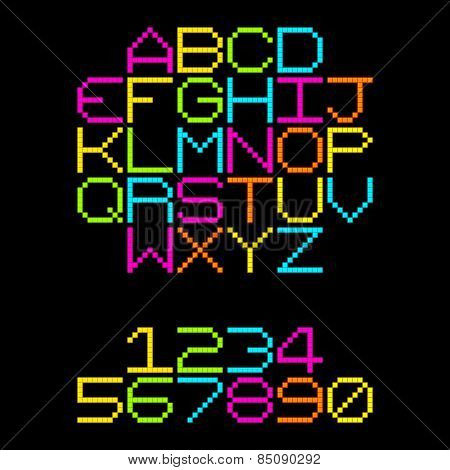 8-bit Pixel Retro Neon Alphabet Letters. Eps8 Vector