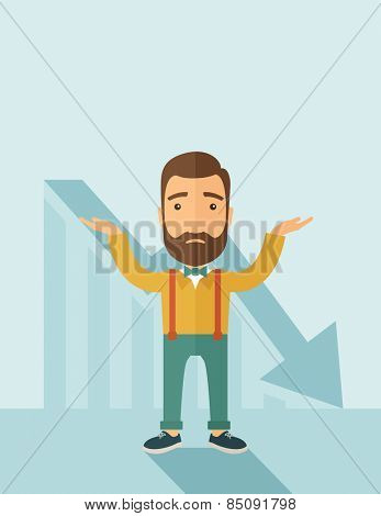 The man with a beard with falling down chart is confused. Bankruptcy concept. Vector flat design illustration. Vertical layout with a text space in a top.