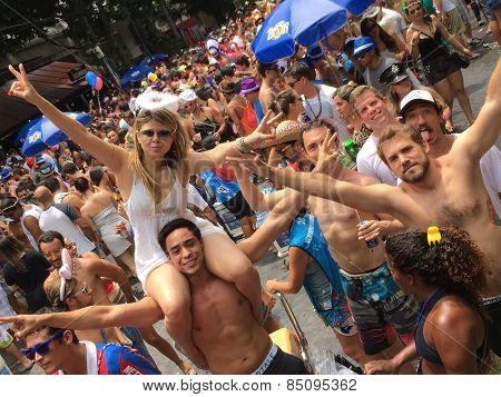 Street carnival parade in Rio de Janeiro, Brazil 2015 : Young people having party fun