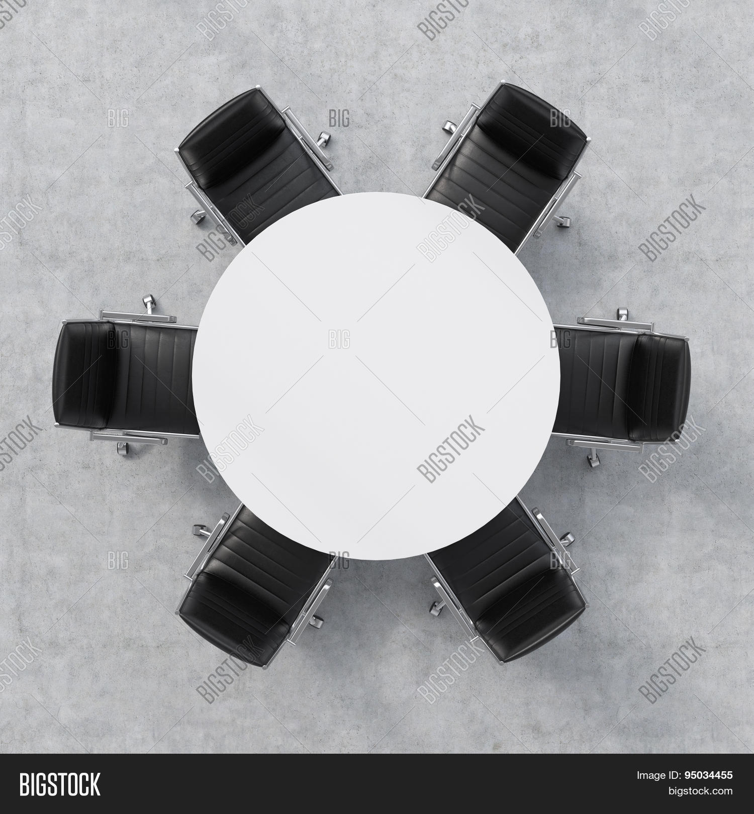 table and chairs top view. Top View Of A Conference Room. White Round Table And Six Chairs Around.