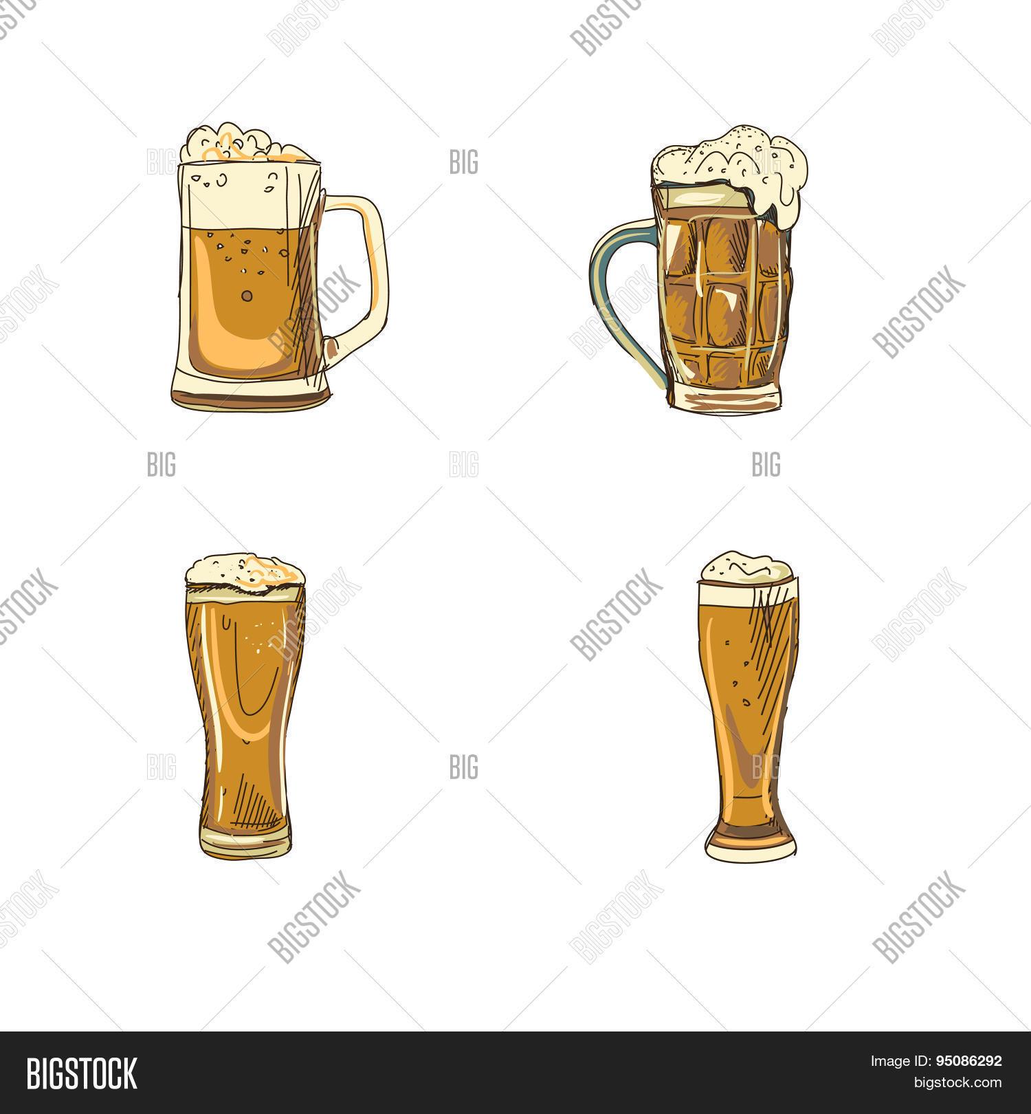 Doodle Beer Glasses Vector Photo Free Trial Bigstock
