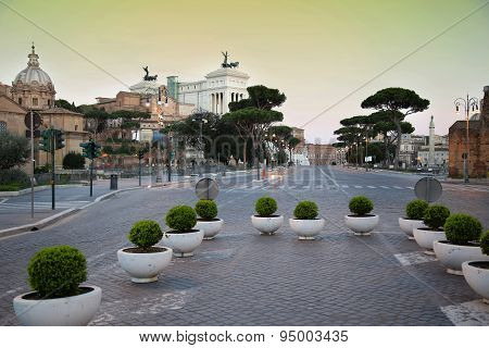 Via Dei Fori Imperiali In Rome, Italia