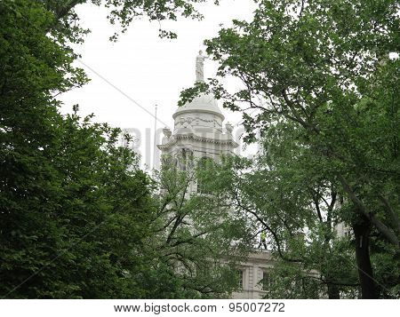 Lady Justice and Dome at City Hall Park in New York City