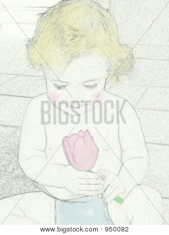 Baby With Tulip