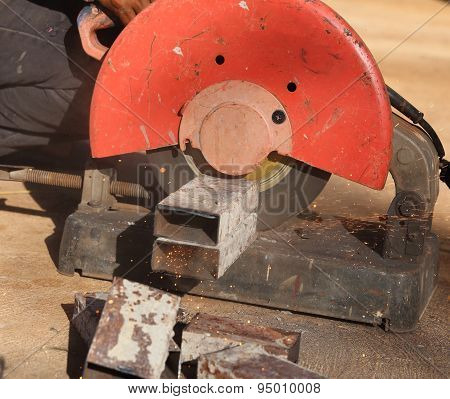 Cutting A Metal And Steel With Compound Mitre Saw With Sharp