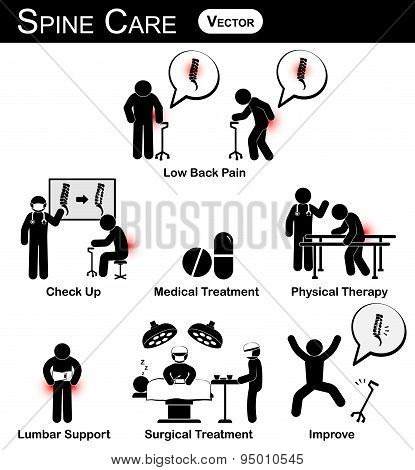 Vector Stickman Diagram / Pictogram / Infographic Of Spine Care Concept
