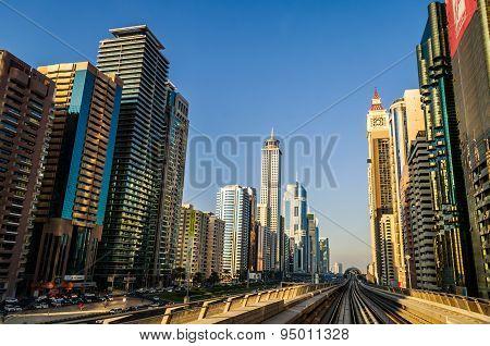 Dubai Metro At Sheik Zayed Road
