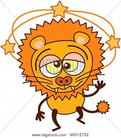 Cute lion walking unsteadily and feeling dizzy