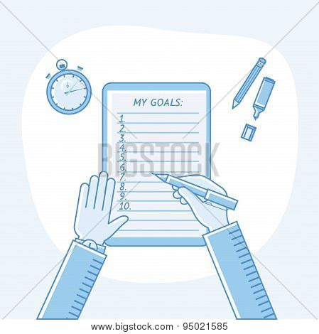 Business goals checklist. Vector flat linear icon. To do list. Top view. My goals