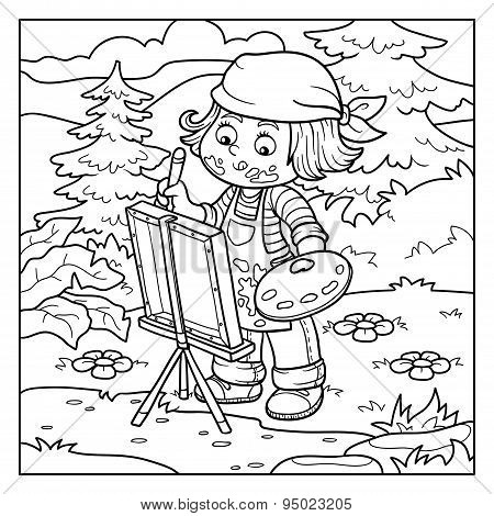 Coloring Book (girl Artist Draws On Nature, Open Air)