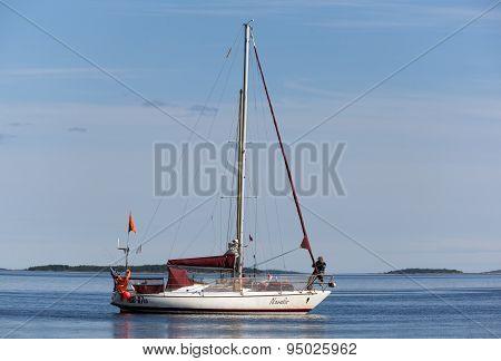Russia, Kandalaksha - June 30, 2015: Regatta Of Cruiser Yachts. Judging Boat Yacht