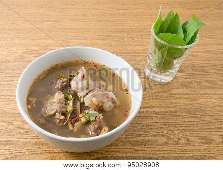Thai Spicy And Sour Beef Entrails Soup With Basil
