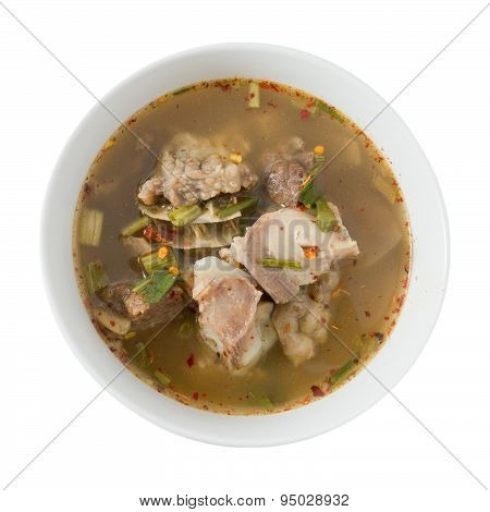 Thai Spicy Beef Entrails Soup On White