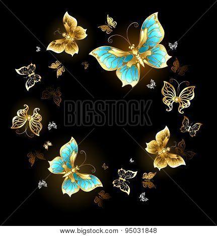 Round Dance Of Golden Butterflies
