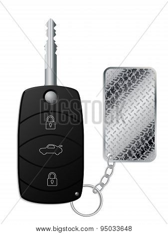Car Remote Key With Industrial Tire Tread Keyholder