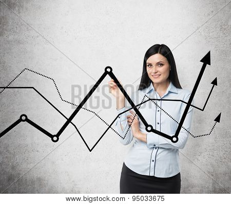 Brunette Business Lady Presents A Line Graphs, Which Symbolise Fluctuation Of The Business Process.