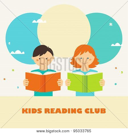Boy and Girl Reading Books. Kids Reading Club Sign.