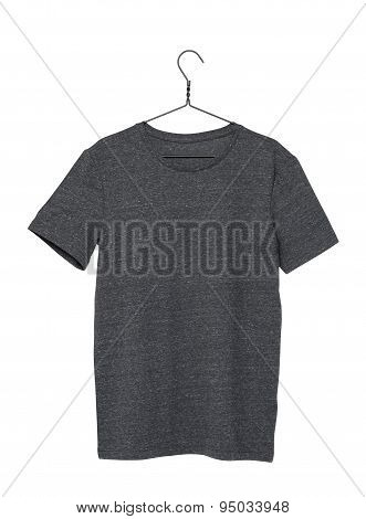 Close Up Of A Grey T-shirt On Cloth Hanger. Isolated.