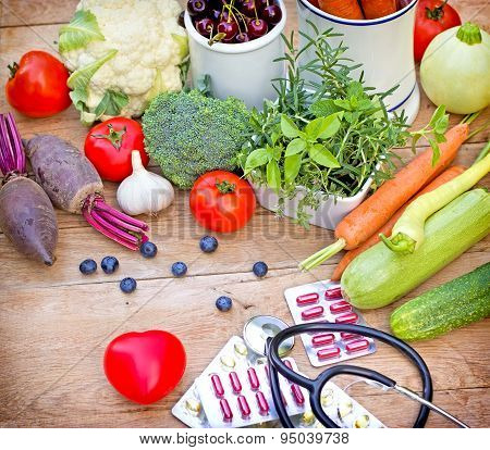 Concept of a healthy diet with supplements on table poster