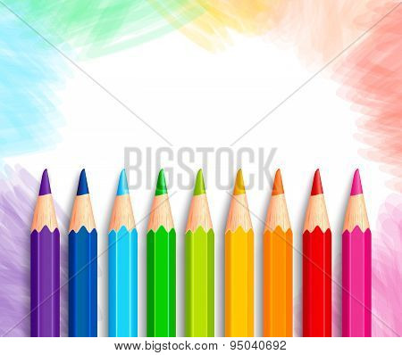Set of Realistic 3D Colorful Colored Pencils or Crayons