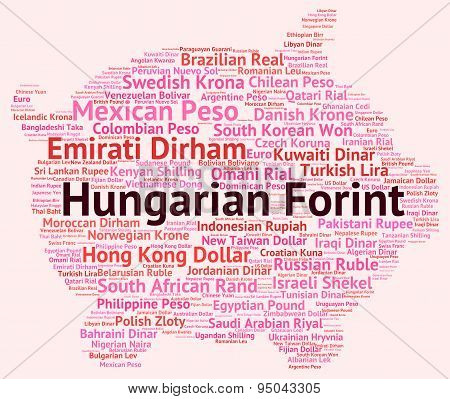 Hungarian Forint Shows Foreign Currency And Coin