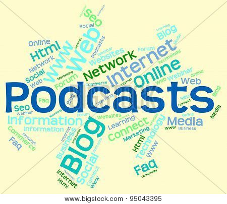 Podcast Word Represents Text Webcast And Broadcasting