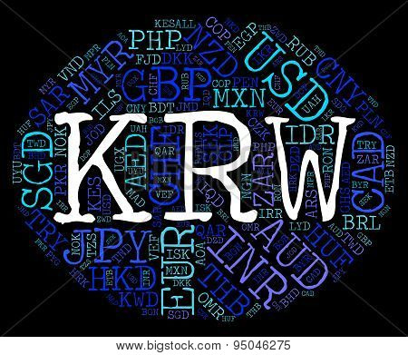 Krw Currency Represents South Korea Won And Exchange