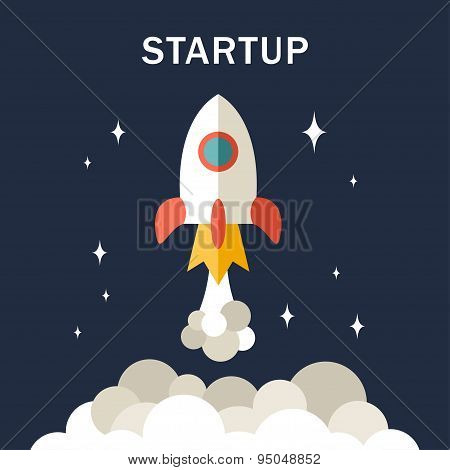 Flat Rocket Icon. Startup Concept. Application Icon