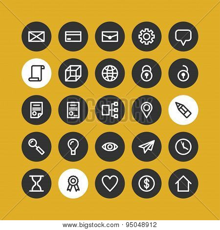 Business And Commerce Flat Line Icons Set