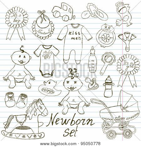 Baby Icons, Toys, Clothes And Cradle, Hand Drawn Sketch Vector Illustration