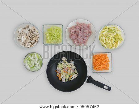 Prepared Ingredients For Wok