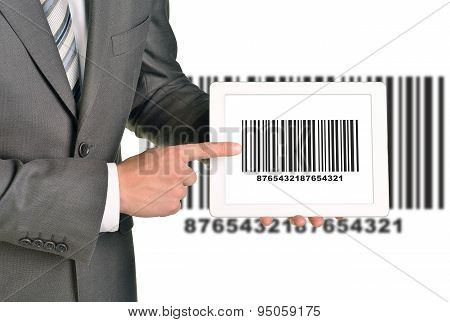 Businessman holding UPC code