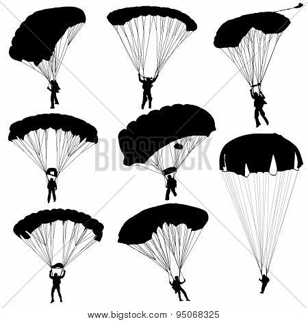 Set Skydiver, Silhouettes Parachuting
