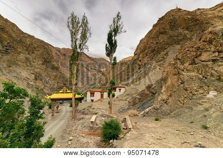 Rizong Monastery With View Of Himalayan Mountians , Leh, Ladakh, Jammu And Kashmir, India.