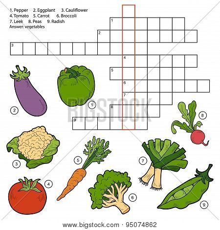 Vector Crossword, Game For Children About Vegetables