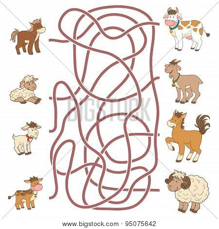 Maze Game: Help The Young Find Their Parents (farm Animals: Horse, Sheep, Goat, Cow)