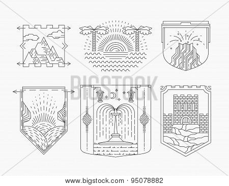 Touristic resorts and sights line emblems