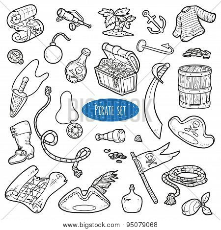 Vector Set Of Pirate Items, Colorless Cartoon Collection