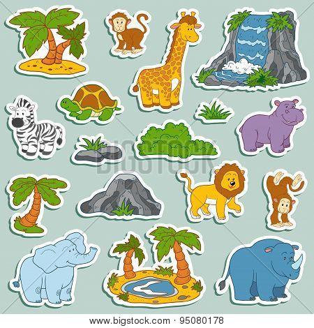 Set Of Various Cute Animals, Vector Stickers Of Safari Animals
