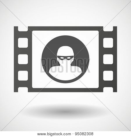 Illustration of a 35mm film frame with a thief poster