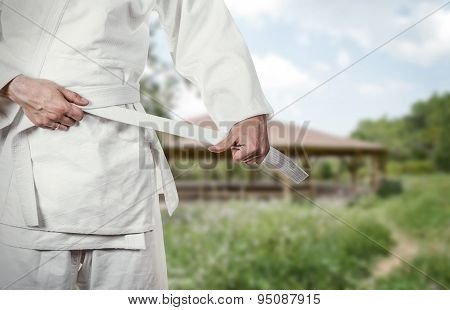 Karate master prepares for combat in high mountain village