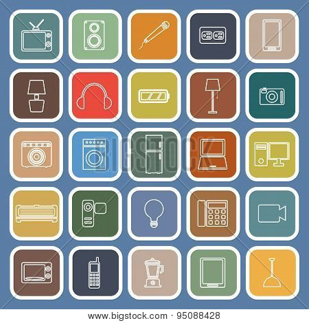 Electrical Machine Line Flat Icons On Blue Background
