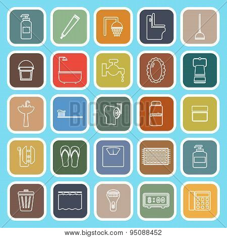 Bathroom Line Flat Icons On Light Blue Background