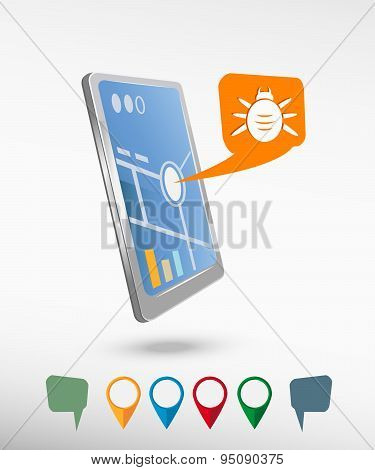 Bug Icon And Perspective Smartphone Vector Realistic