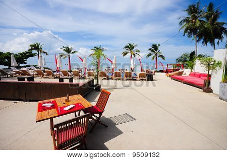 Outdoor restaurant at the beach , Samui, Thailand